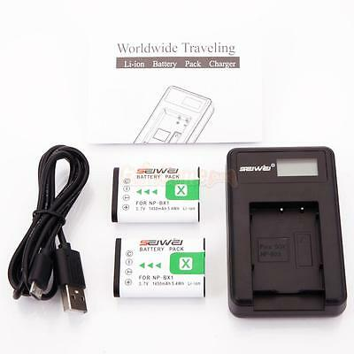 2x NP-BX1 Battery + Charger for Sony Cyber-Shot RX100 AS15 AS10 HX300 WX300