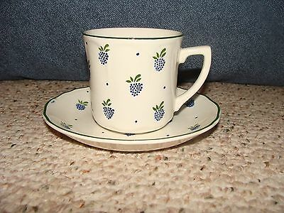 Vintage Johnson Brothers Tea Cup & Saucer Set Ironstone Made in England Grapes