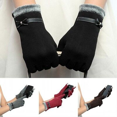 UK Charm Womens Smartphone Touch Screen Warm Gloves Winter Bowknot Lady Mittens