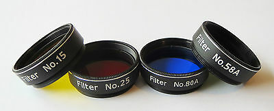 """Set of 4 Superior Quality Yellow Red Blue Green 1.25""""  Filter for Telescope SALE"""