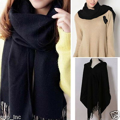 Black Knit Women's Winter Long Scarf Wrap Blanket Oversized Shawl Solid Color OS