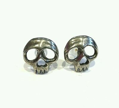 Alchemy Gothic Skully pair of earrings pewter chunky studs