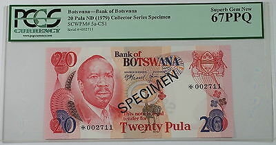 (1979) Botswana 20 Pula Specimen Note SCWPM# 5a-CS1 PCGS 67 PPQ Superb Gem New