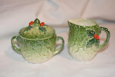 Vintage Japan Hand-Painted Green Ivy/Berry Christmas SUGAR Creamer Ceramic Rare