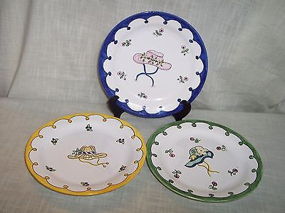 Porcelain Hat Plates Hand Painted Made in Portugal Signed Numbered Set of 3