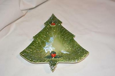 Vintage Japan Hand-Painted Green Holly Berry Christmas TREE Candy Dish Rare