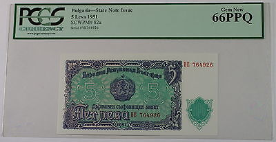 1951 Bulgaria 5 Leva State Note Issue SCWPM# 82a PCGS 66 PPQ Gem New