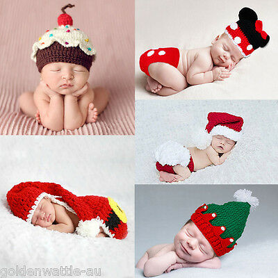 5pcs Newborn Baby Boys Girls Crochet Knit Costume Photo Photography Prop Outfits