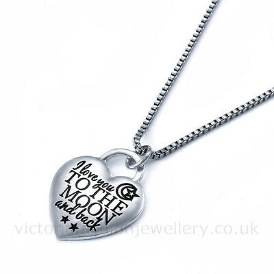 """""""i love you TO THE MOON and back"""" NECKLACE, Sterling Silver Plate, Heart Pendant"""