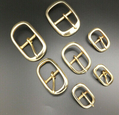 """CAST SOLID BRASS [ 1/2"""" to 1-1/2"""" ] STRONG OVAL BELT BUCKLE in packs of 1,2,5-10"""