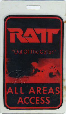 RATT 1984 Out of the Cellar Laminated Backstage Pass