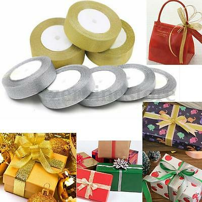 25 Yards (10-50mm) Double Sided Satin Glitter Ribbons Bling Bows Reels Wedding