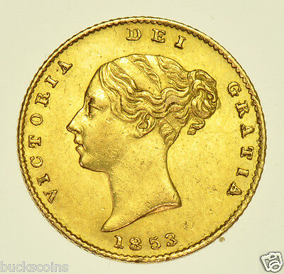 1853 Half Sovereign British Gold Coin From Victoria V Ef