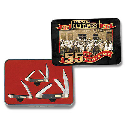Schrade Old Timer 55Th Anniversary 2013 Limited Edition 3 Knives Gift Tin Box