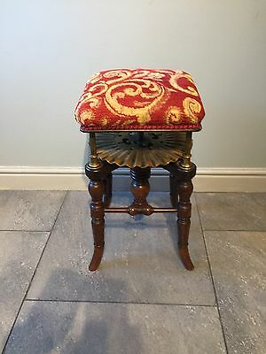 Unusual Antique Adjustable Victorian Red Walnut Piano Artist Stool H.BROOKS &CO