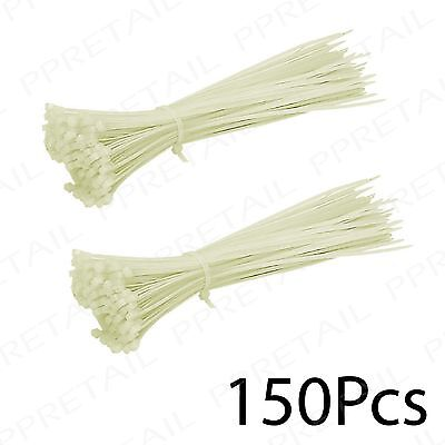 150 x HIGH QUALITY Clear Long 200mm Cable Ties STRONG NYLON PLASTIC Zip Wraps