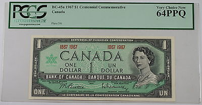 1967 Canada Centennial Commemorative $1 Note BC-45a PCGS 64 PPQ Very Choice New