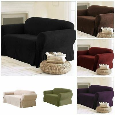 Soft Solid Micro Suede Sofa Loveseat or Armchair Cover Slipcover 9 Colors
