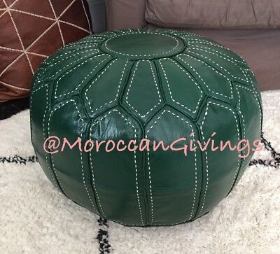 Moroccan 100% Leather Hand Stitched Contemporary Floor Cushion Spanish Green