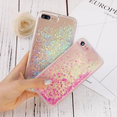Glitter Bling Hearts Liquid Novelty Colourful Phone Case For iPhone 7 7 Plus 6S