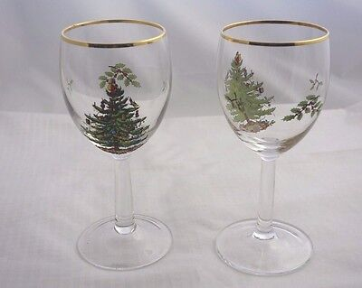 Spode Christmas Tree Gold Trimmed Set of 2 Wine Glasses Holiday Water Stemmed