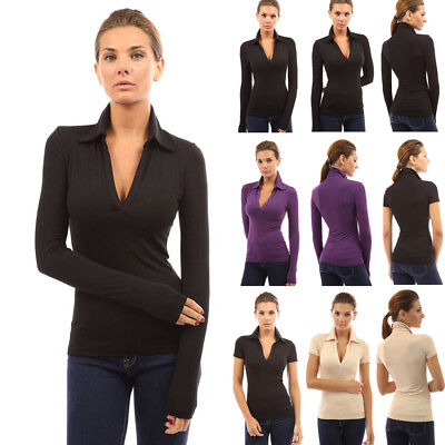 Womens Ladies Long Sleeve Polo Shirt V Neck Slim Fit Casual Shirt Blouse Top