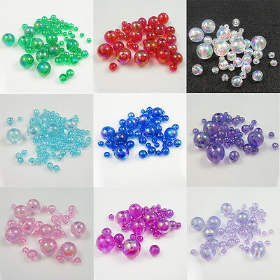 ROUND ACRYLIC AB BEADS 4mm 5mm 6mm 8mm 10mm *10 COLOURS* BEADING JEWELLERY CRAFT