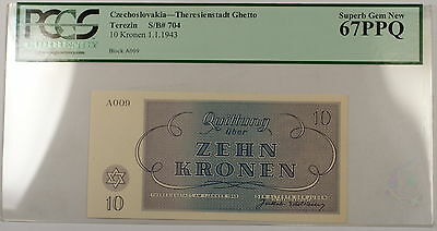 1943 Czechoslovakia Theresienstadt 10 Kronen S/B# 704 PCGS PPQ 67 Superb Gem New