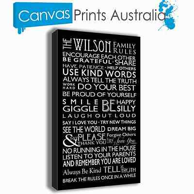 PERSONALISED FAMILY RULES CANVAS PRINTS 50CM x 90CM x 4CM 48 COLORS TO CHOOSE