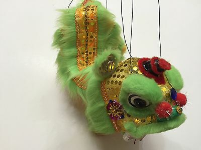 Chinese New Year Green Puppet Lion Dragon Head Dance Hanging