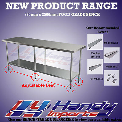 2500mm x 390mm NEW STAINLESS STEEL WORK BENCH KITCHEN FOOD PREP CATERING TABLE