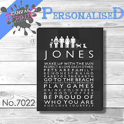 Personalised Family Rules Canvas 55 Colors Art House Prints Wall Decoration Home