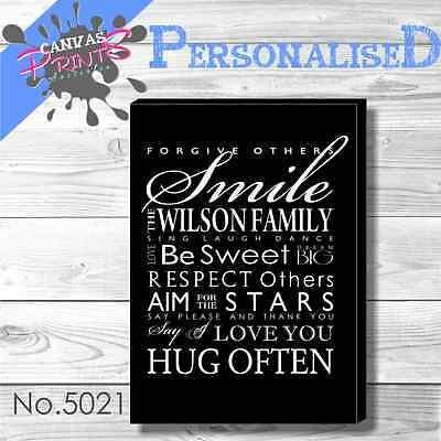 Personalised Family Rules Art Print Stretched Canvas House 48 Colors To Choose