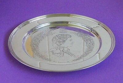 Vintage English Sterling Silver Queens Jubilee Plate Hallmarked London 1977