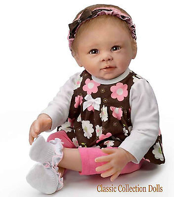 "Ashton Drake ""BROWN EYED GIRL"" - LIFELIKE POSEABLE BABY DOLL -NEW- IN STOCK NOW!"