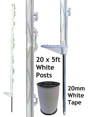 20 X WHITE 5FT POSTS & 20MM POLY TAPE Electric Fence Fencing Horse Paddock