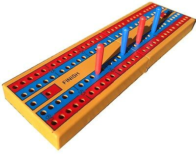 FOLD-ABLE CRIBBAGE BOARD AND PEGS  - New, sealed with coloured pegs