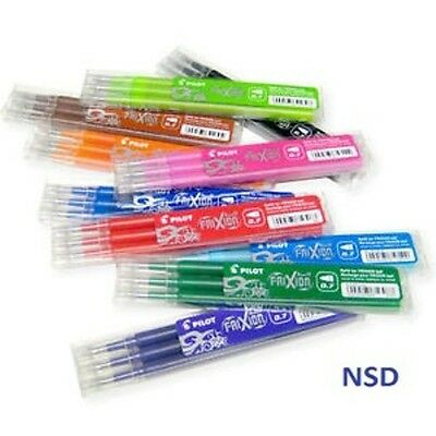 Pilot Frixion Roller & Click Erasable Pens Refills 0.7Mm Black Blue Red Green