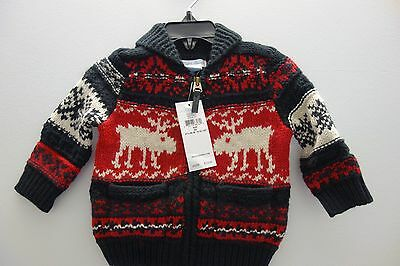 $125 NWT Ralph Lauren Baby Black Stag Wool Cardigan Sweater Sz 3 6 9 12 18 month