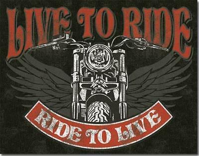Live To Ride Motorcycles Choppers American Eagle Wings Weathered Tin Metal Sign