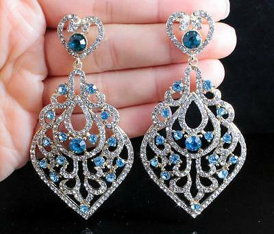 Sparkle austrian crystal rhinestone chandelier dangle earrings prom sexy blue austrian crystal rhinestone chandelier dangle earrings stud e2078 gold mozeypictures Choice Image