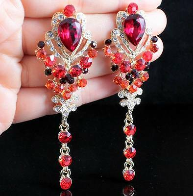 Party Red Austrian Crystal Rhinestone Drop Chandelier Dangle Earrings E2095-Gold