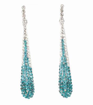 Teal Austrian Crystal Rhinestone Drop Chandelier Dangle Earrings Bridal E2094T