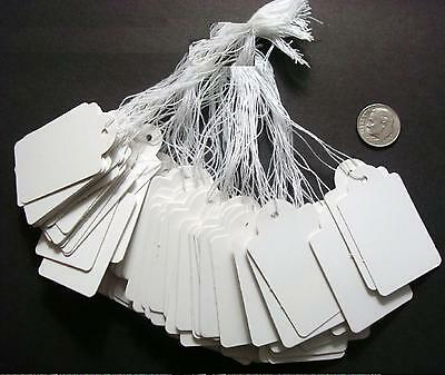 "100 White paper jewelry price tags large write on label 1 7/8"" x 1 3/16"" pt010"