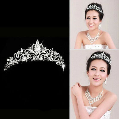 Cute Bridal Princess Stunning Crystal Hair Tiara Wedding Crown Veil Headband Hot