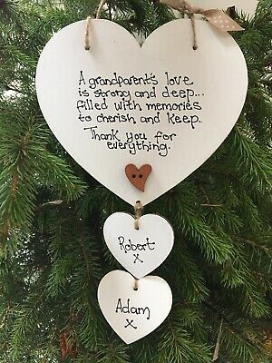 Personalised Great Grandparent Grandma Gran Nan Plaque Sign Gift Keepsake heart