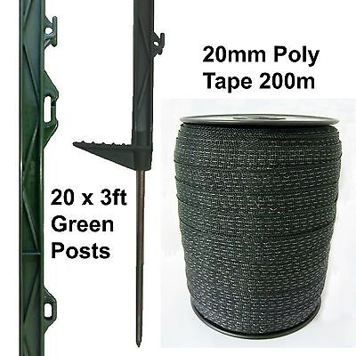 20 X 3FT POLY POSTS & TAPE - 20mm 200m Green Electric Fence Horse Pony 105cm