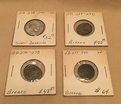 Lot Ancient Roman Coins - Gordian Silver Double Denaruis + (3) Bronze Coins