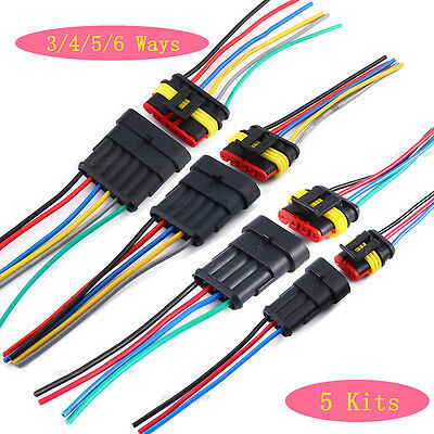 5 Kit 3/4/5/6 Pin Waterproof Car Motorcycles Electrical Connector Plug 10cm Wire