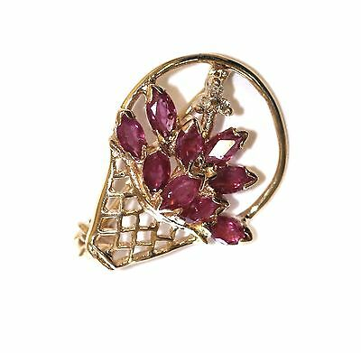 14k yellow gold vintage .015ct SI2 H diamond ruby pin brooch 1.7g antique